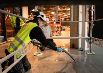 Tømming av betong på golv